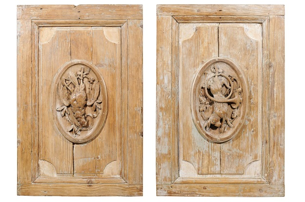 Pair of French 19th Century Carved Panels with Hunting Trophies in Medallions