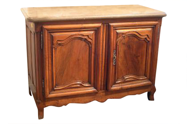 French 18th Century Walnut Buffet with Marble Top