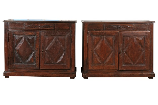 Pair of French 18th Century Walnut Buffets with Single Drawer and Diamond Motifs