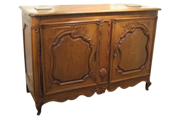 French 18th Century Louis XV Walnut Buffet with Star Inlay on Doors, Circa 1750
