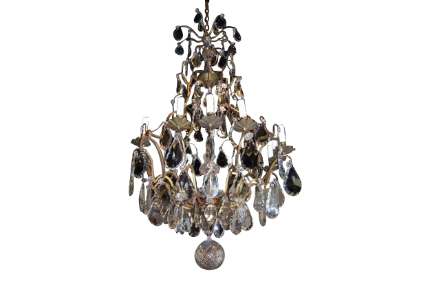 French Louis-Philippe Period 10-Light Crystal Chandelier with Gilt Armature