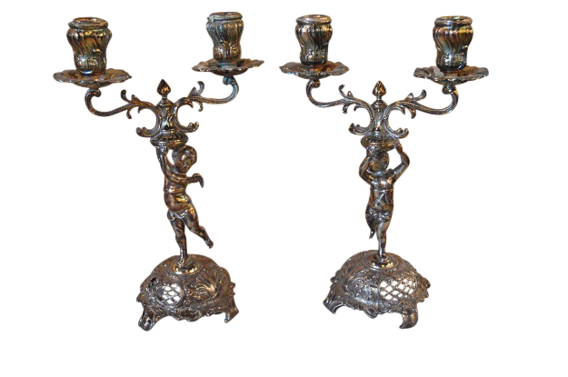 German 19th Century Silver Plated Candelabra